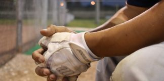 baseball substitute bench hands
